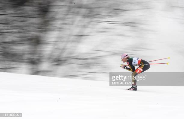 Stehle Sachenbacher of Germany competes during the women's Relay 4x5 Km Classic/Free event of the Nordic Skiing World Championships on February 26...