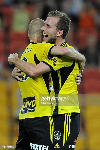 Stein Huysegems of the Phoenix celebrates a goal with Jeremy Brocke during the round 16 ALeague match between Brisbane Roar and the Wellington...