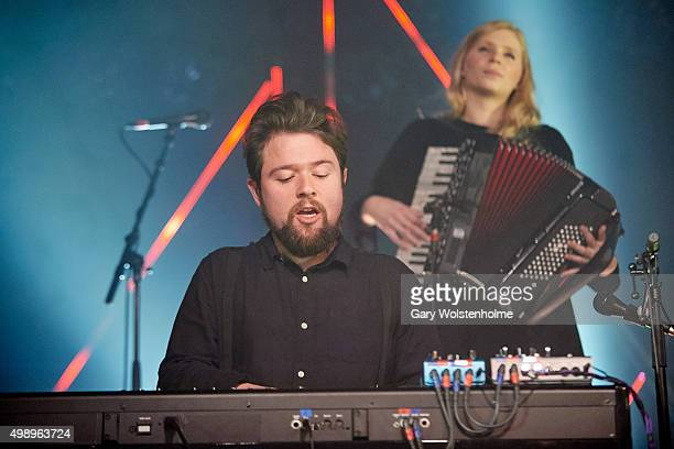 Steingrimur Karl Teague and Sigrun Kristbjorg Jonsdottir from Of Monsters And Men performs at O2 Academy Sheffield on November 27 2015 in Sheffield...