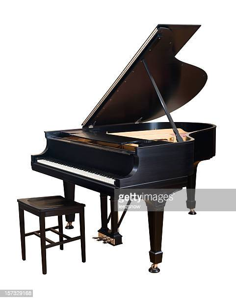 steinway parlor grand piano on white - grand piano stock photos and pictures