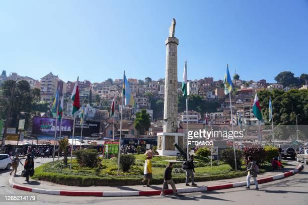 Stele and square. Antananarivo. Madagascar. Africa.