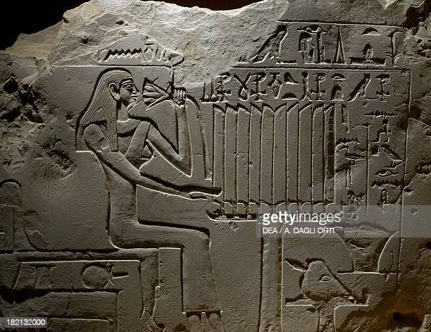 Stele dedicated by Shepsipumin to his mother limestone 37x505 cm from Akhmim Egyptian civilisation Old Kingdom Dynasty VI Florence Museo Archeologico...