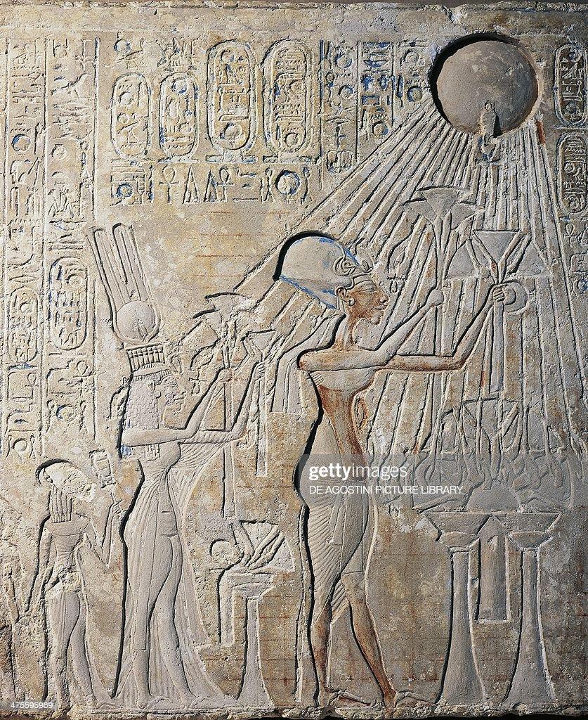 Stele depicting Akhenaten with Nefertiti... : News Photo