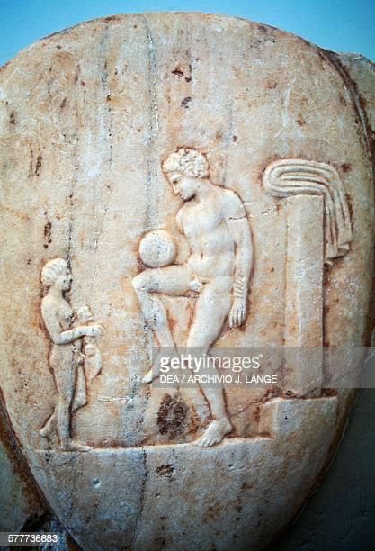 Stele depicting an athlete playing ball found in Piraeus Greece Greek civilisation 5th century BC Athens Ethnikó Arheologikó Moussío