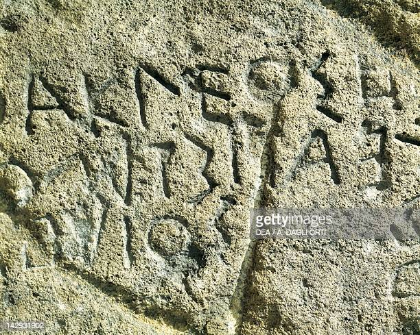 Stele depicting MegaroSelinunte characters unearthed in Marsala Sicily Italy Detail Ancient Greek civilization Magna Graecia 5th Century BC Palermo...