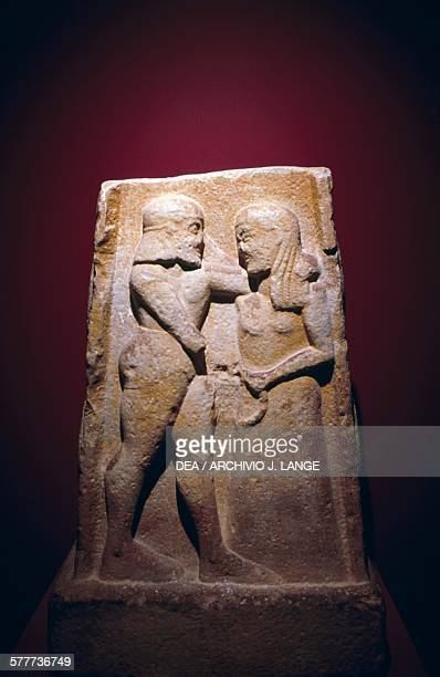 Stele depicting Menelaus and Helen found in Sparta Greece Greek civilisation late 7th century BC Athens Ethnikó Arheologikó Moussío