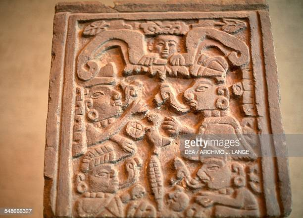 Stele depicting two characters talking from Cuilapan Zapotec civilisation Mexico City Museo Nacional De Antropología