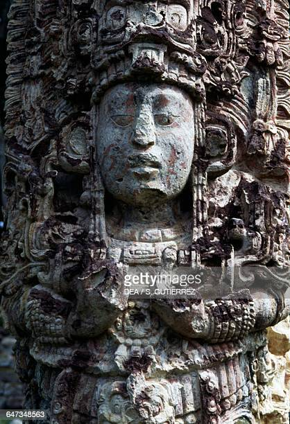 Stele H detail Copan archaeological site Honduras Maya civilisation