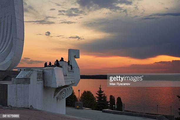 Stele Ladya (boat) on Volga river in Samara