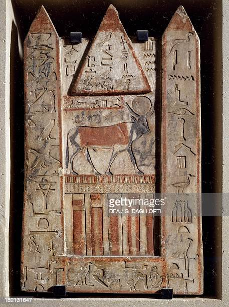 Stele of Apis bull cult of the bull with two obelisks flanking a pyramid from the Serapeum at Memphis Egyptian civilisation Third Intermediate Period...