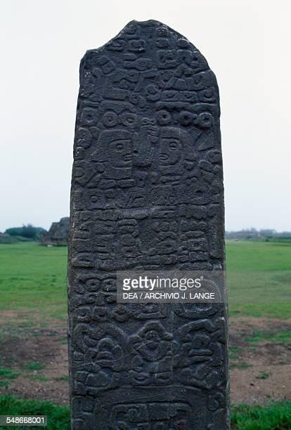 Stele on the North Platform Monte Alban Valley of Oaxaca Mexico Zapotec civilisation 7th century BC16th century
