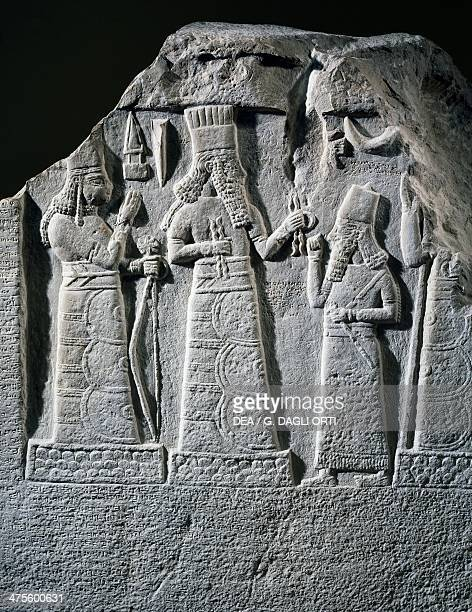 Stele with inscription and relief depicting ShamshRes usur governor of Mari and Suhi praying to the gods Baal and Ishtar Babylon Iraq Babylonian...