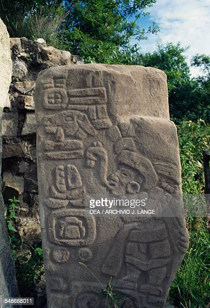 Stele with relief depicting a male figure Monte Alban Valley of Oaxaca Mexico Zapotec civilisation 7th century BC16th century