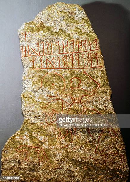 Stele with runic engraving depicting a knight Scandinavian civilisation 5th 6th century Stockholm Nationalmuseum