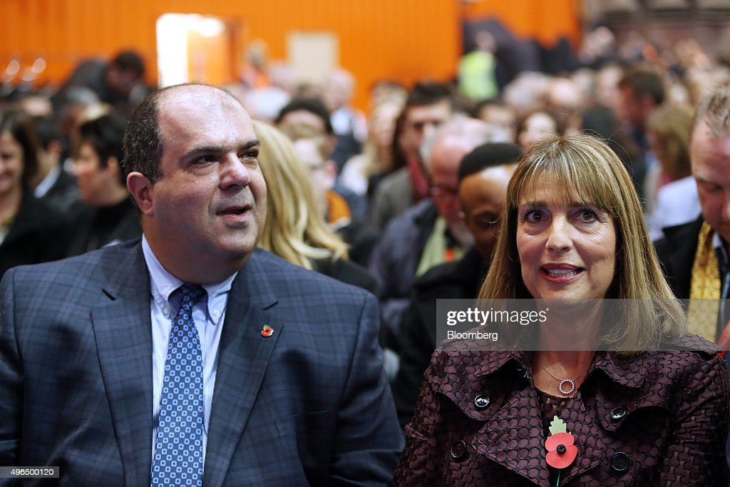 Stelios Haji-Ioannou, founder of EasyJet Plc, left, and Carolyn McCall, chief executive officer of EasyJet Plc, attend the Easyjet 20th anniversary event in Luton, U.K., on Tuesday, Nov. 10, 2015. EasyJet Plc said it will roll out a loyalty offering for frequent flyers next year, as Europe's second-biggest discount carrier targets repeat customers. Photographer: Chris Ratcliffe/Bloomberg via Getty Images