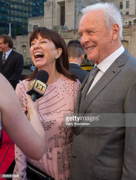 Stella Arroyave and Anthony Hopkins appear at the Transformers The Last Knight Chicago premiere at Civic Opera Building on June 20 2017 in Chicago...