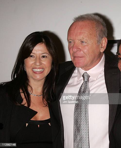 Stella Arroyave and Anthony Hopkins arrive at Slipstream premiere at Roy Titus Theater on October 18 2007 in New York City