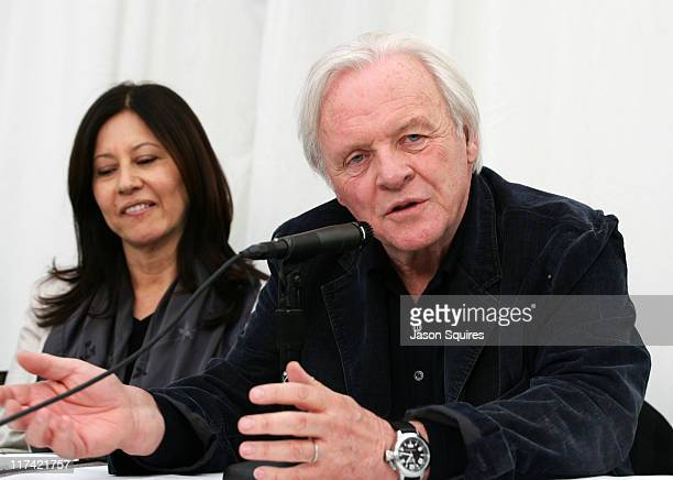 Stella Arroyave and Anthony Hopkins during 2007 Sundance Film Festival Slipstream Press Conference at Yarrow in Park City Utah United States
