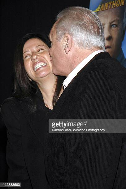 Stella Arroyave and Anthony Hopkins during The World's Fastest Indian New York Screening Arrivals at Tribeca Grand Hotel in New York City New York...
