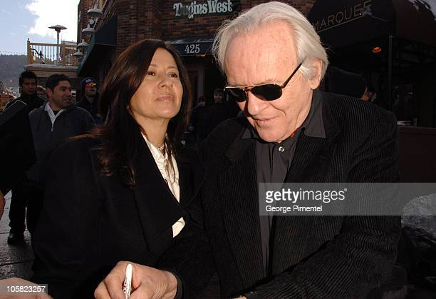 Stella Arroyave and Sir Anthony Hopkins during 2007 Park City Seen Around Town Day 3 at Main Street in Park City Utah United States