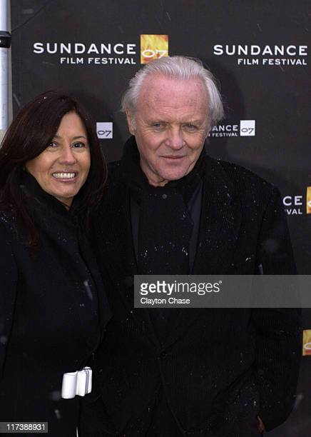 Stella Arroyave and Sir Anthony Hopkins during 2007 Sundance Film Festival Slipstream Premiere at Library Center Theatre in Park City Utah United...