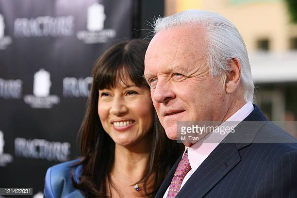 Stella Arroyave and Sir Anthony Hopkins during Fracture Los Angeles Premiere Arrivals at Mann Village Theater in Westwood California United States