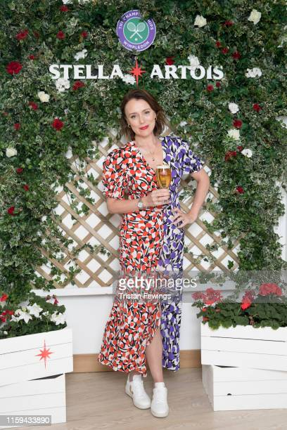 Stella Artois the Official Beer of The Championships Wimbledon hosts Keeley Hawes on the first day of the tournament on July 01 2019 in Wimbledon...