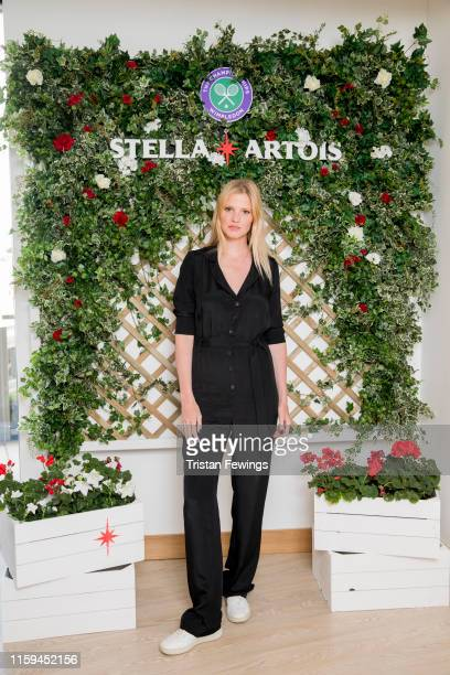 Stella Artois, the Official Beer of The Championships, Wimbledon hosts Lara Stone on the first day of the tournament on July 01, 2019 in Wimbledon,...