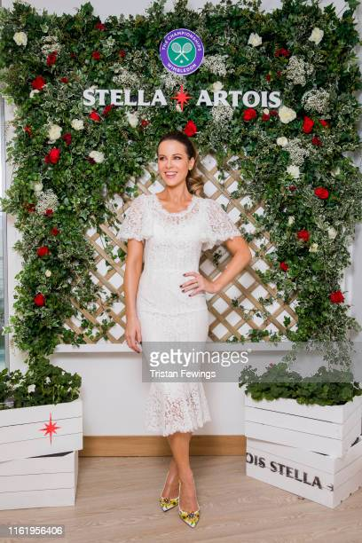 Stella Artois the Official Beer of the Wimbledon Championships hosts Kate Beckinsale on the Gentleman's Final on July 14 2019 in Wimbledon England