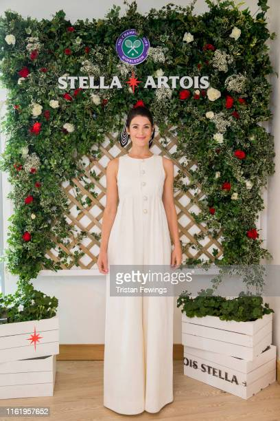Stella Artois, the Official Beer of the Wimbledon Championships, hosts Gemma Arterton on the Gentleman's Final on July 14, 2019 in Wimbledon, England.