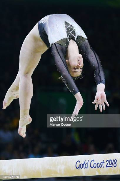 Stella Ashcroft of New Zealand competes on the Beam during the Gymnastics Artistic Women's Team Final and Individual Qualificationon day two of the...