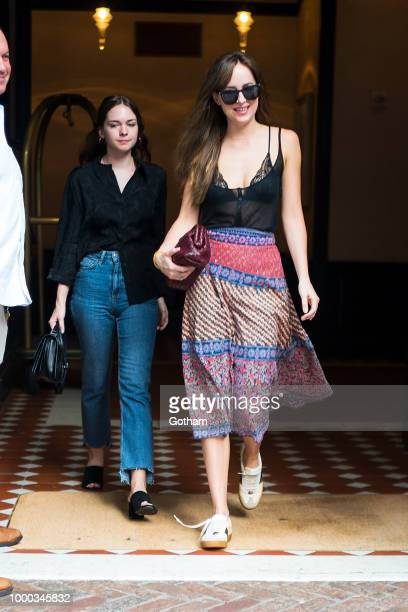 Stella Banderas and Dakota Johnson are seen in Tribeca on July 16 2018 in New York City