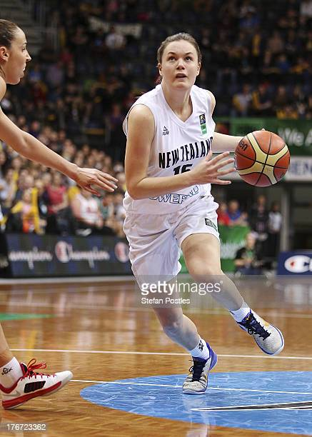 Stella Beck of the Tall Ferns drives to the basket during the Women's FIBA Oceania Championship match between the Australian Opals and the New...
