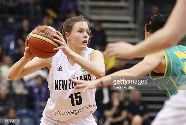 Stella Beck of the Tall Ferns looks to pass the ball during the Women's FIBA Oceania Championship match between the Australian Opals and the New...