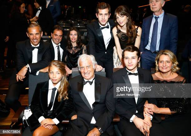Stella Belmondo JeanPaul Belmondoa guest Luane Belmondo Paul Belmondo Victor Belmondo and a guest on stage during the Cesar Film Awards Ceremony at...