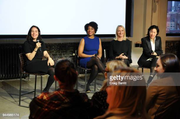 Stella Bugbee Zerlina Maxwell Linda Wells and Karen Wong at attend The Cut's How I Get It Done event at Neuehouse on April 11 2018 in New York City
