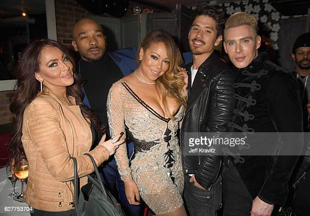 Stella Bulochnikov Anthony Burrell Mariah Carey Bryan Tanaka and Kristofer Buckle attend MARIAH'S WORLD Viewing Party at Catch on December 4 2016 in...