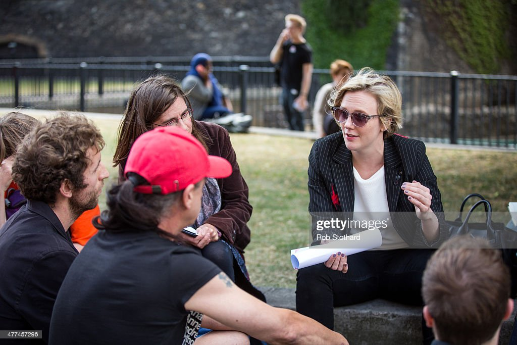 Stella Creasy, MP for Walthamstow, speaks to members of the public, outside the Houses of Parliament in Westminster on June 17, 2015 in London, England. People from all over the country travelled to London to discuss climate change with their MPs, part of 'For The Love Of', a day of activities organised by The Climate Coalition, Stop Climate Chaos Scotland and Stop Climate Chaos Cymru.