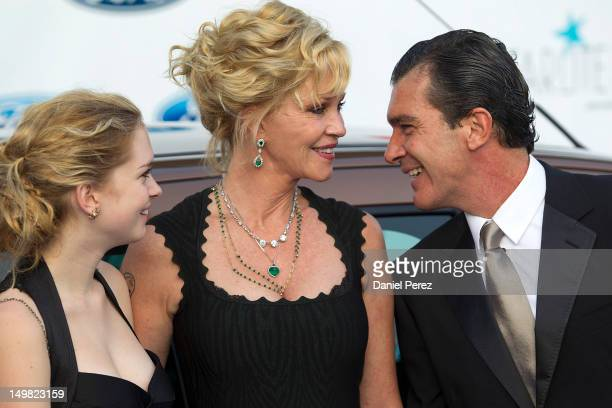Stella del Carmen, actress Melanie Griffith and Antonio Banderas attend the Starlite Charity Gala 2012 on August 4, 2012 in Marbella, Spain.