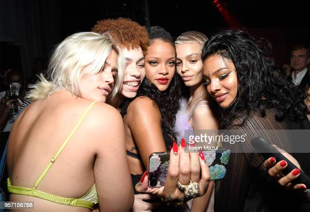 Stella Duval Carissa Pinkston Rihanna and India Graham pose during the launch of Rihanna's global lingerie brand Savage X Fenty at Villain on May 10...