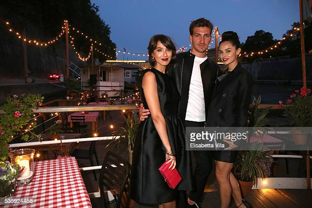 Stella Egitto Alan Cappelli and Katy Saunders attend Dsquared2 dinner party at Baja on May 30 2016 in Rome Italy