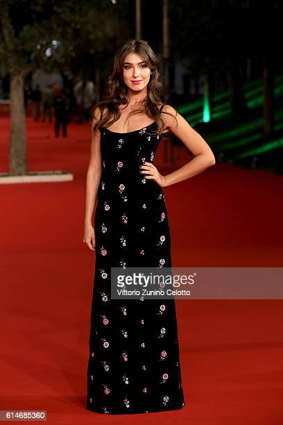 Stella Egitto walks a red carpet for 'Manchester By The Sea' during the 11th Rome Film Festival at Auditorium Parco Della Musica on October 14, 2016...