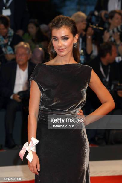 Stella Egitto walks the red carpet ahead of the 'The Sisters Brothers' screening during the 75th Venice Film Festival at Sala Grande on September 2...