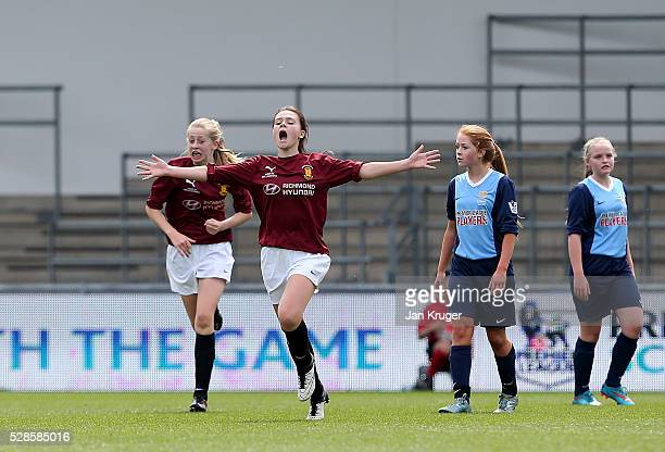 Stella Gandee Morgan of Kings' School celebrates her goal during the Premier League U16 Schools Cup For Girls final between St Bede's School and...