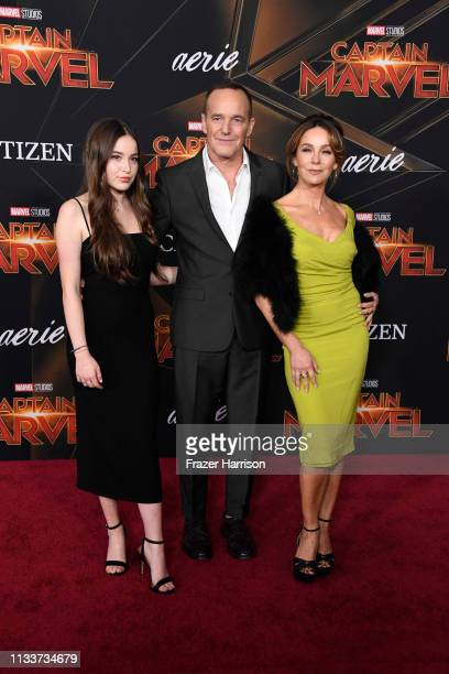 Stella Gregg Clark Gregg and Jennifer Grey attend Marvel Studios Captain Marvel Premiere on March 04 2019 in Hollywood California