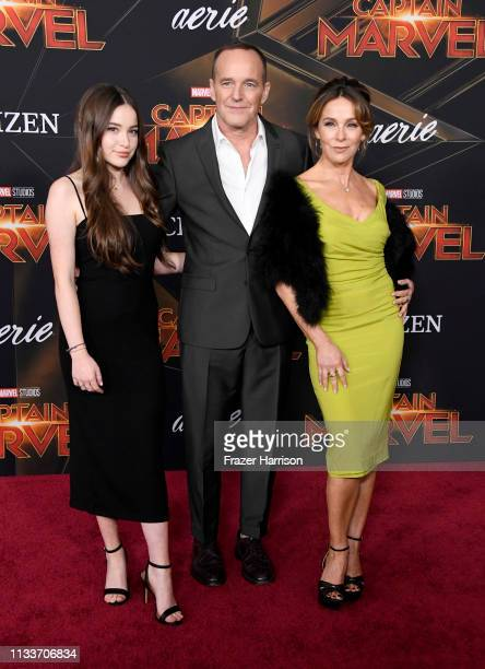 Stella Gregg Clark Gregg and Jennifer Grey attend the Marvel Studios Captain Marvel premiere on March 04 2019 in Hollywood California