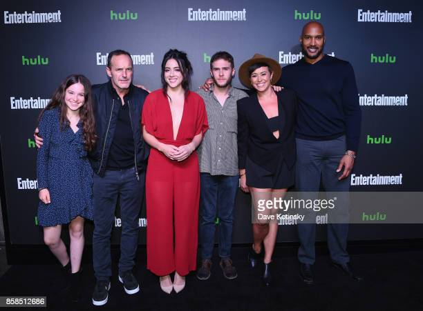 Stella Gregg Clark Gregg Chloe Bennet Ian De Caestecker Briana Venskus and Henry Simmons attend Hulu's New York Comic Con After Party at The Lobster...