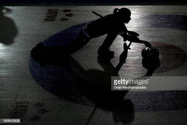 Stella Heiss of Germany throws the stone in the match between Japan and Germany during Day 3 of the Titlis Glacier Mountain World Women's Curling...