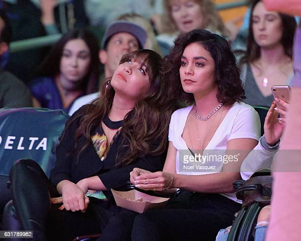 Stella Hudgens and Vanessa Hudgens attend a basketball game between the Detroit Pistons and the Los Angeles Lakers at Staples Center on January 15...
