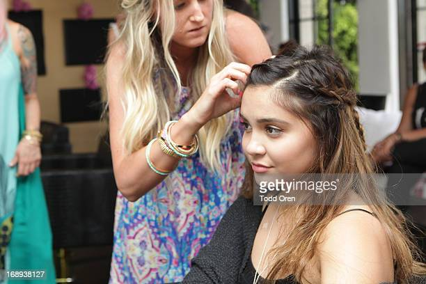 Stella Hudgens at the HairUWear Extension Bar at Nine Zero One Salon on May 16 2013 in West Hollywood California